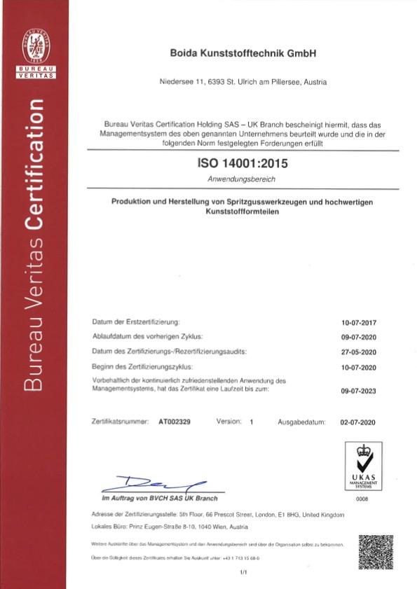 Certificate AT002329 Boida 14001 deutsch issued 1
