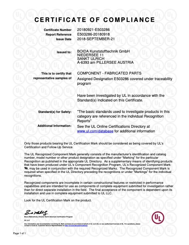 UL Zertifikat